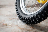 Tyre of motocross bike — Stock Photo