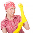Maid woman is ready for cleaning — Stock Photo #8690282
