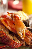 Dish with cooked crabs and lobsters — Stock Photo