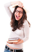 Shouting young woman with books — Stock Photo