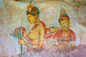 Antique asian fresco with naked woman — Stock Photo