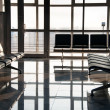 Stock Photo: Airport sits and big window