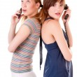 Two friends communicate by phones — Stock Photo