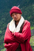 Portrait of buddhist monk in mountains — Stock Photo