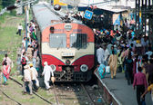 Are boarding in the train, India — Stock Photo