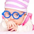 Portrait of funny baby with glasses — Stock Photo