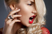 Beautiful fashionable woman with ring — Stock Photo