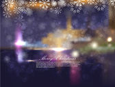 Christmas night city with snowflakes and bokeh. Abstraction a vector a back — Stock Vector