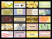 Abstract of 20 orizontal business cards on different topics. vec — Vettoriale Stock