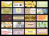 Resumen de 20 tarjetas orizontal sobre diferentes temas. vec — Vector de stock