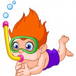 Snorkeling kid - Stock Vector