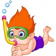 Stock Vector: Snorkeling kid