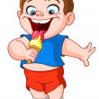 Kid eating icecream — Stock Vector