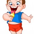 Stock Vector: Kid eating icecream