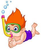 Snorkeling kid — Stock Vector