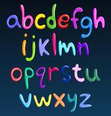 Gemener färgglada spaghetti alfabetet — Stockvektor