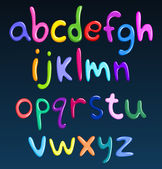 Lower case colorful spaghetti alphabet — Vettoriale Stock