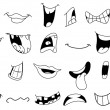 Stock Vector: Outlined cartoon mouths