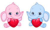Baby elephants holding hearts — Stock Vector