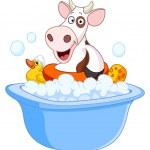 Cow taking a bath — Stock Vector