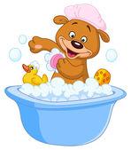 Teddy bear taking a bath — Stock Vector