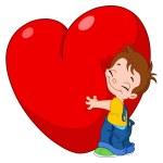 Kid hug heart — Stock Vector
