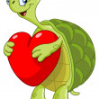 Turtle with heart - Stock Vector