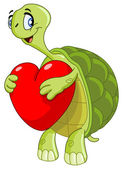 Turtle with heart — Stock Vector