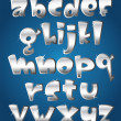 Stock Vector: Lower case silver alphabet