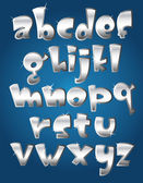 Lower case silver alphabet — Stock Vector