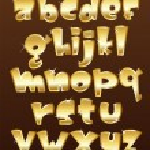 Lower case gold alphabet — Stock Vector