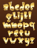Lower case gold alphabet — Stock Vector