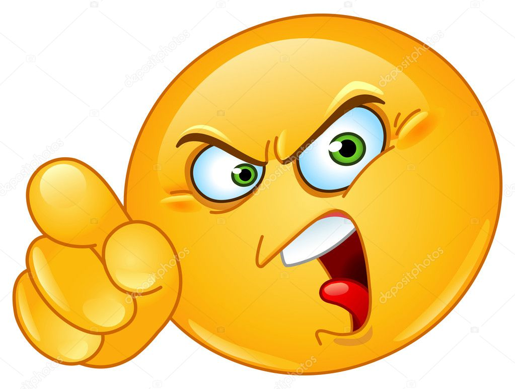 Angry emoticon pointing an accusing finger — Stock Vector #9746784