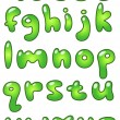 Stock Vector: Lower case eco bubble alphabet