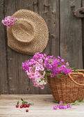 Hat and basket — Stock fotografie