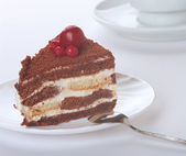 Chocolate cream cake — Stock Photo