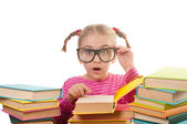 Little girl with books — Foto Stock