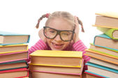 Little girl with books — Stok fotoğraf
