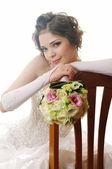 Beautiful girl in wedding dress — Stock Photo
