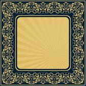 çiçekli süs kenarlıklı dikdörtgen altın çerçeve — Stok Vektör