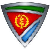 Steel shield with flag Eritrea — Stock Vector