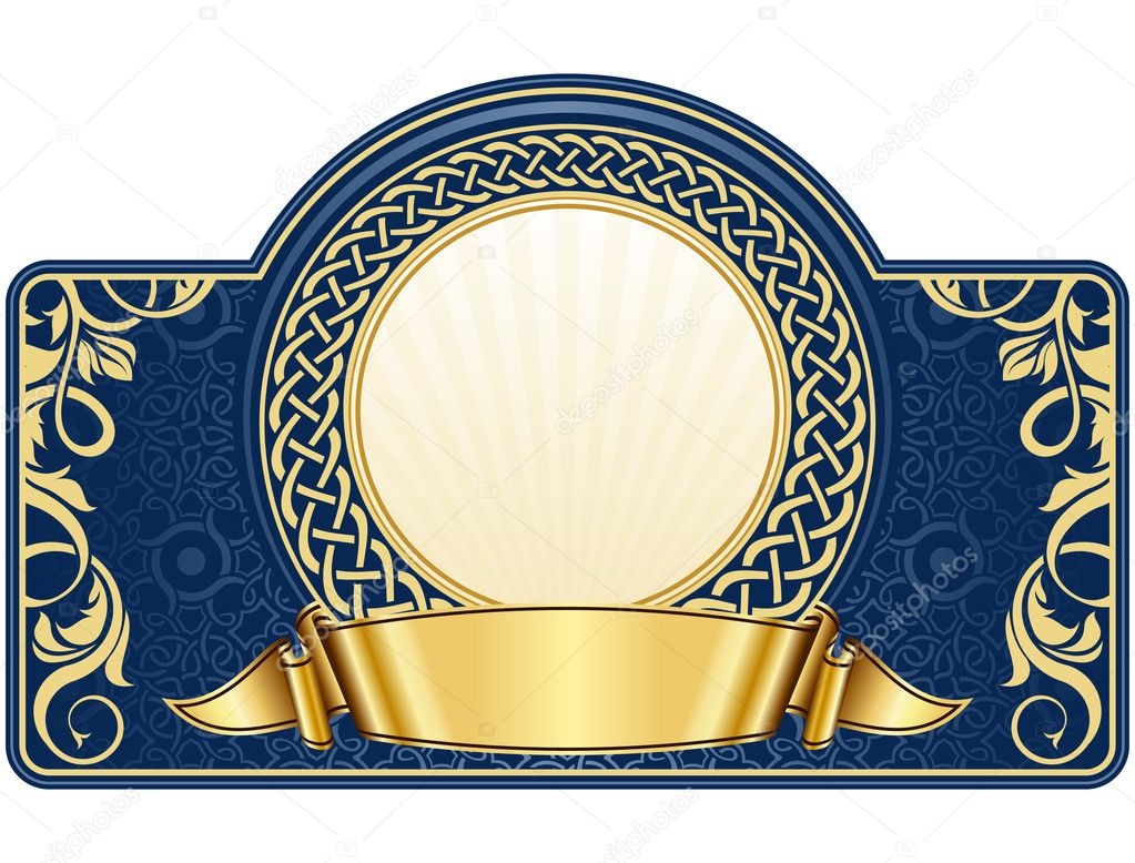 Label with circle frame and gold ribbon  — Stock Vector #8553620