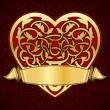 Ornamental heart with gold ribbon — Imagen vectorial