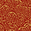 Valentine day gold seamless wallpaper — 图库矢量图片