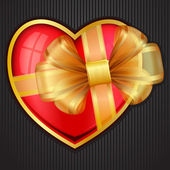 Valentine`s Day heart with transparent gold bow — ストックベクタ