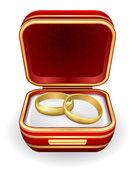 在红色框中的金结婚戒指。 — 图库矢量图片