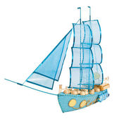 Gift in form layout sailing ship decorated with candy — Stock Photo