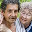 Actual gladness of elderly hugging — Stock Photo
