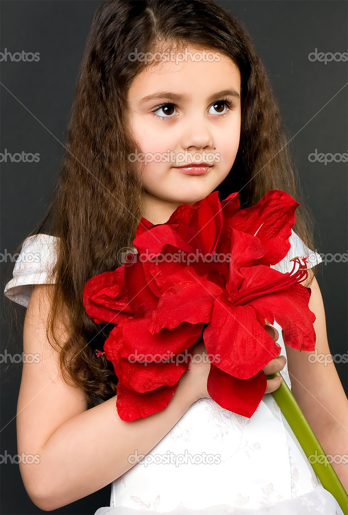 Pretty girl with red flower — Stock Photo #8231146