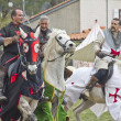 Knights riding horses in the Les Templiers part — Stock Photo #10022050
